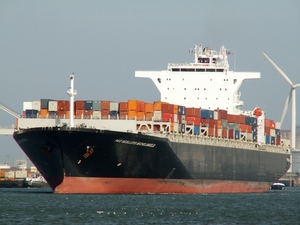 Cargo ship approaching port of Rotterdam