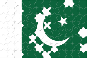 Pakistani flag with puzzle pieces