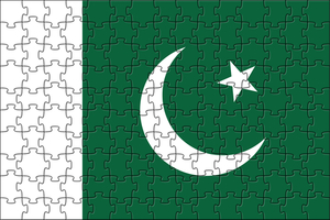 Pakistani flag made of puzzles
