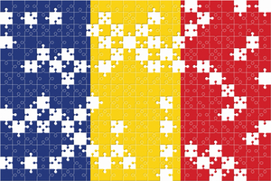 Flag of Romania made of puzzles