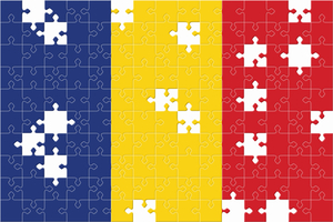 Romanian flag with puzzle pieces