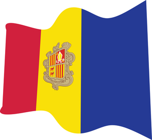 Wavy flag of Andorra