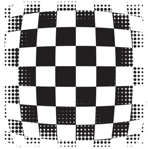 Checkered pattern with halftone effect