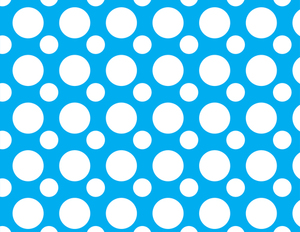 White circles blue background