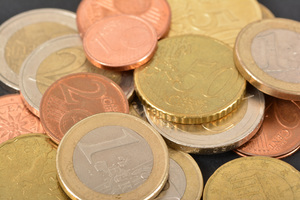 Euro coins close-up