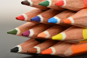 Colored pencils macro photo