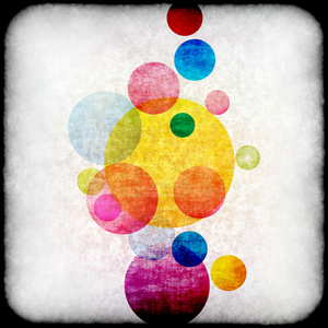 Colored circles with grunge texture