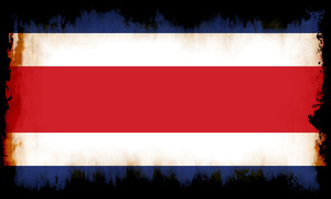Costa Rica flag with damaged edges