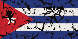 Cuban flag with holes