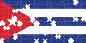 Flag of Cuba with puzzle pieces