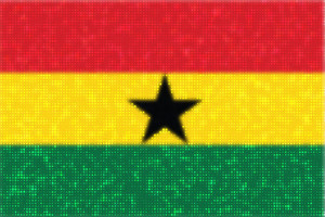 Flag of Ghana glowing dots