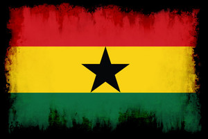 Flag of Ghana in black frame