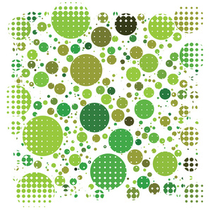 Halftone pattern on green circles
