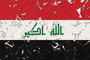 Iraqi flag with parts peeled off