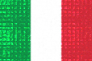 Italian flag with bright dots