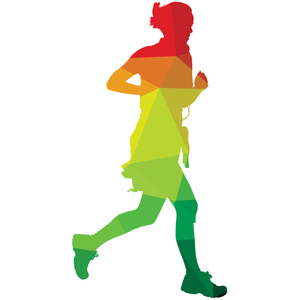 Woman jogging colored silhouette