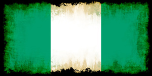 Nigerian flag with black frame