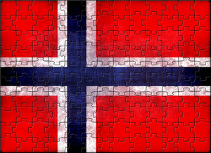 Norwegian flag with puzzle pieces