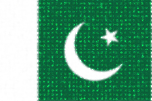 Pakistani flag with glittering dots