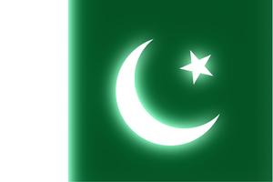 Pakistani flag glowing