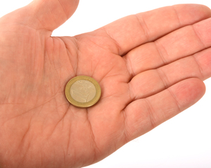 Coin in a palm