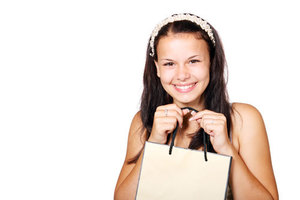 Smiling girl in shopping