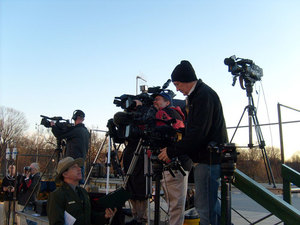 TV crew outdoors