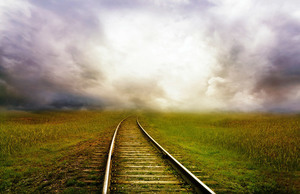 Railroad in the fog