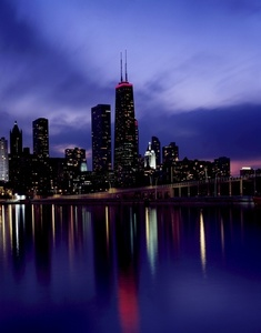 Downtown Chicago in the dusk