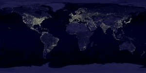 Outer space night view of Earth