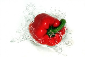 Red Bell Pepper in water