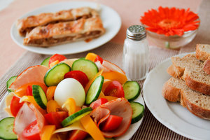 Breakfast with bread and salad