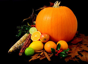 Big pumpkin and fruits