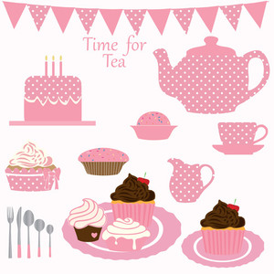 Cupcake tea party clipart