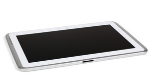White tablet with silver edge