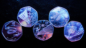 Olympic coins close up