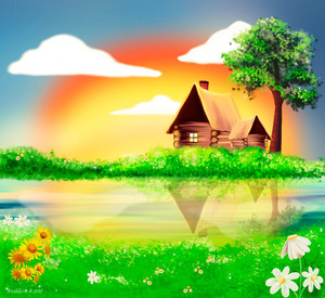 Wooden cottage illustration