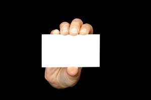 Business card with hand
