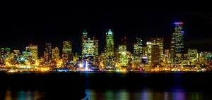 Seattle city lights in the night