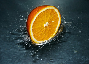 Orange in a water