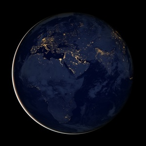 Space view of Earth at night