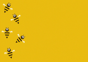 Bees on honeycomb background