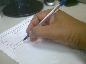 Hand writing with pen