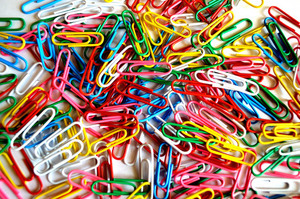 Pile of colorful paperclips