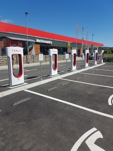 Tesla charging station and McDonalds