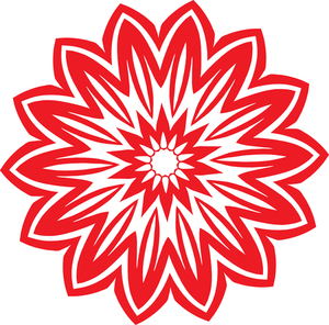 Tribal flower red color