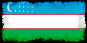 Uzbekistan flag with burned edges