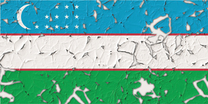 Uzbekistan flag with holes