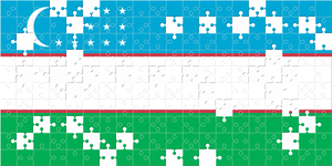 Uzbekistan flag made with puzzles