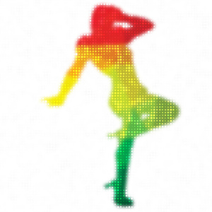 Woman posing colored pattern